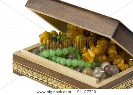 wooden jewelry box with beads made of natural stones