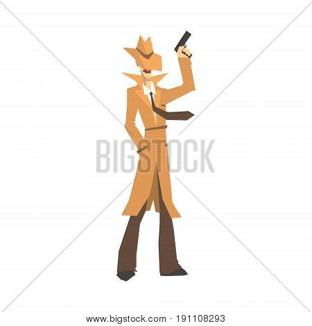 Detective character in brown coat standing and holding gun. Private investigator, inspector or police officer vector Illustration isolated on a white background
