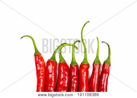 Close-up red chilli peppers on white background