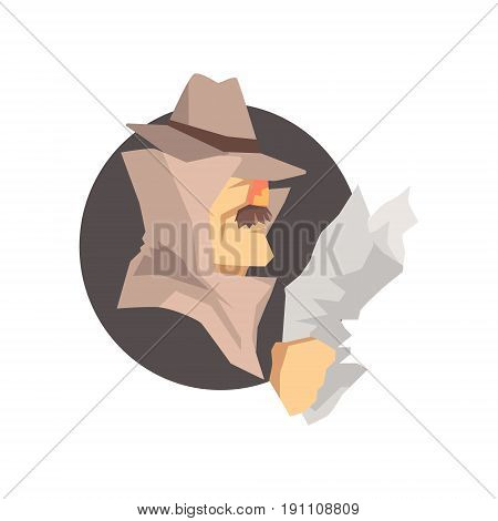 Disguised detective character wearing classic fedora hat avatar, private investigator, inspector or police officer vector Illustration
