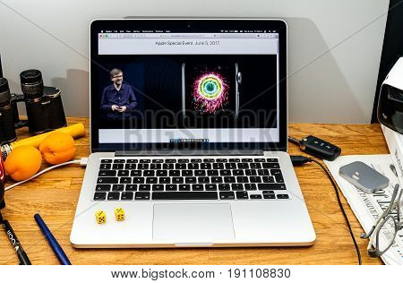 PARIS FRANCE - JUNE 6 2017: Apple Computers website on MacBook laptop in creative environment showcasing news from Apple at WWDC 2017 - Kevin Lynch about Activity app success milestone