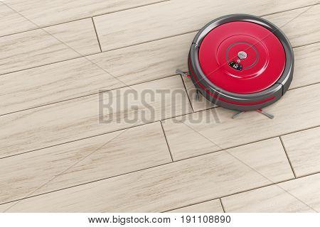 Robot vacuum cleaner on the floor, 3D illustration