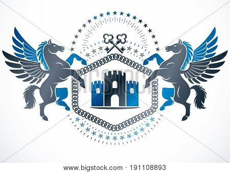 Vintage emblem created in vector heraldic design and composed using graceful mythic Pegasus security keys and ancient tower.