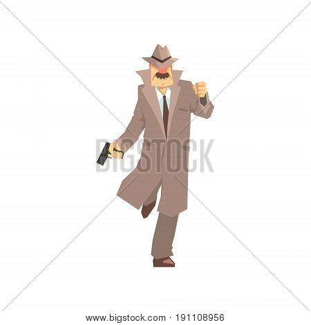 Detective character running with gun. Private investigator, inspector or police officer vector Illustration isolated on a white background