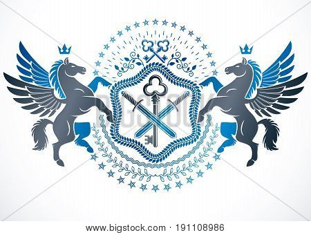 Vector emblem made in vintage heraldic design. Heraldry emblem composed using graceful Pegasus pentagonal stars and security keys.