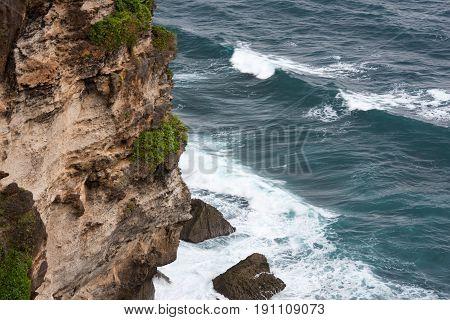 Clif and ocean. Landscape Pura Luhur Uluwatu Bali, Indonesia