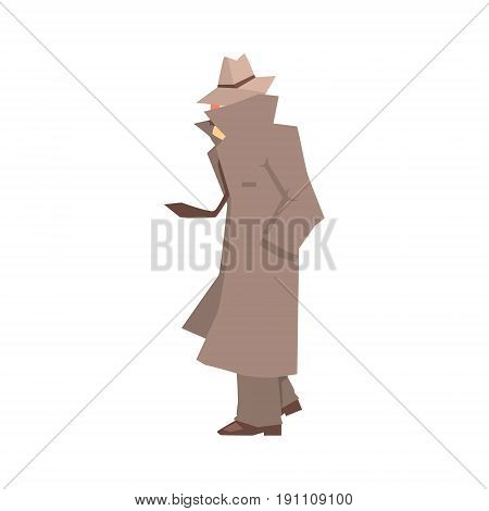 Disguised detective character in grey coat searching, private investigator, inspector or police officer vector Illustration isolated on a white background