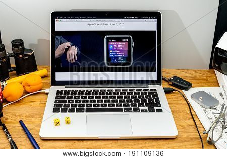 PARIS FRANCE - JUNE 6 2017: Apple Computers website on MacBook laptop in creative environment showcasing news from Vera Carr at Apple WWDC 2017 - Apple Watch features in Workout app