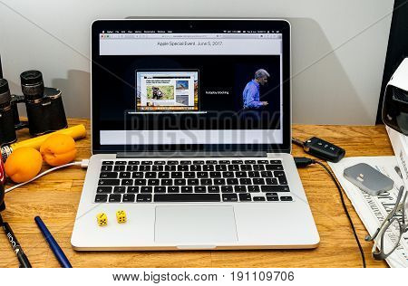 PARIS FRANCE - JUNE 6 2017: Apple Computers website on MacBook laptop in creative environment showcasing Apple Craig Federighi previews macOS High Sierra at WWDC 2017 - new autoplay blocking features in browser safari