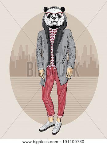 Fashion Hipster Panda , vector hipster bear portrait