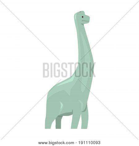 Cartoon brachiosaurus dinosaur character, Jurassic period animal vector Illustration isolated on a white background