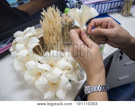 woman made Thai Funeral flower artificial used for cremation