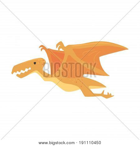 Cartoon pterosaurs dinosaur character, Jurassic period animal vector Illustration isolated on a white background