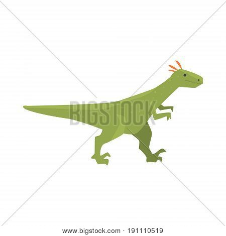 Cute cartoon green dinosaur character, Jurassic period animal vector Illustration isolated on a white background