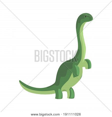 Green theropod, dinosaur character, Jurassic period animal vector Illustration isolated on a white background