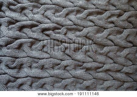 Horizontal Plaits On Dark Grey Knit Fabric