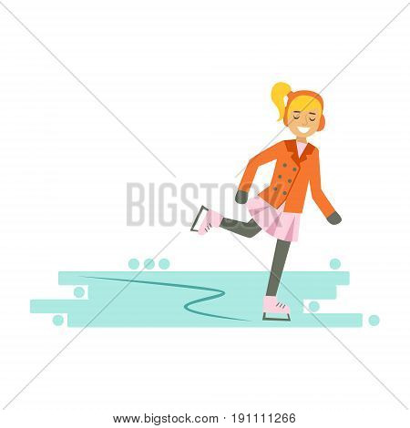 Smiling girl enjoying skating on ice. Winter activity colorful character vector Illustration isolated on a white background