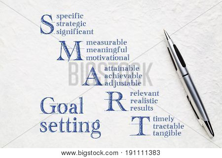 smart goal setting concept - handwriting on a white lokta paper