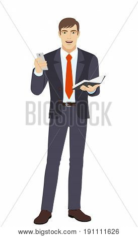 Businessman with mobile phone and organizer. Full length portrait of businessman character in a flat style. Vector illustration.