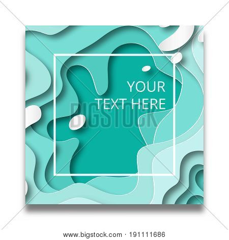 Cut paper 3D waves abstract banner.Vector design layout for business presentations, flyers, posters. Beach or seashore stylized background