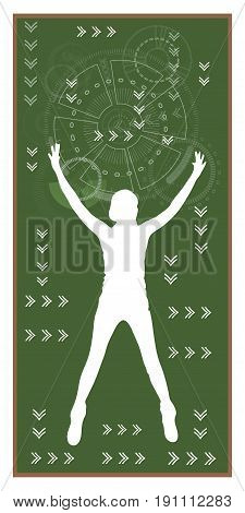 Man And Technology. On White Background. The Girl Is Silhouetted