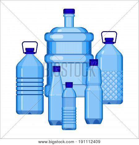 Water bottles collection of various size on white. Blue transparent plastic big and small containers for carrying and storage liquid