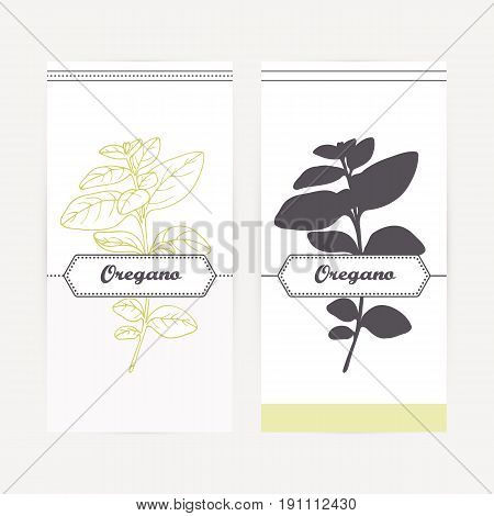Oregano seasoning. Hand drawn branch with leaves in outline and silhouette style. Spicy herbs retro labels collection for food packaging or kitchen design. Vector illustration