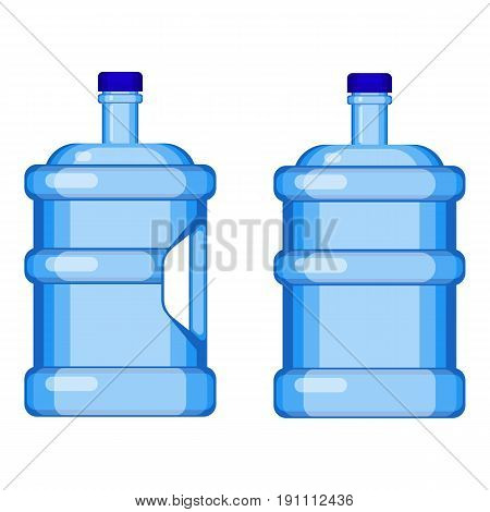 Two gallon water bottles with and without handle isolated on white. Vector illustration of big transparent plastic containers for liquid