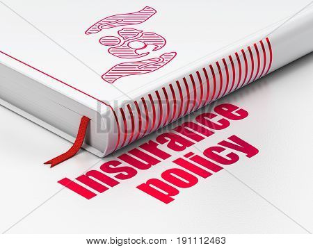 Insurance concept: closed book with Red Family And Palm icon and text Insurance Policy on floor, white background, 3D rendering