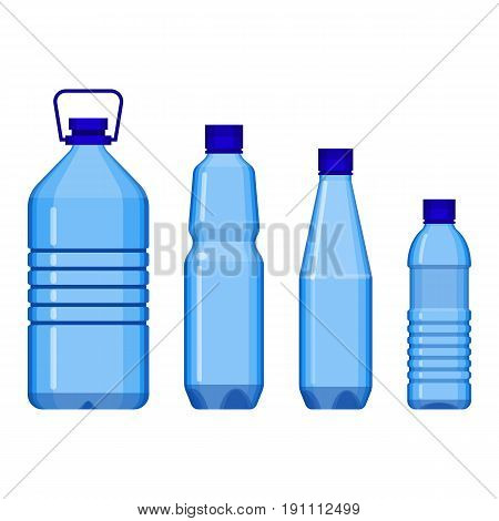 Water bottles standing in line from big to small, with and without handle. Vector poster of plastic containers for liquid isolated on white