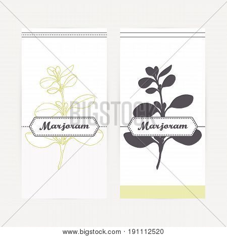 Marjoram seasoning. Hand drawn branch with leaves in outline and silhouette style. Spicy herbs retro labels collection for food packaging or kitchen design. Vector illustration
