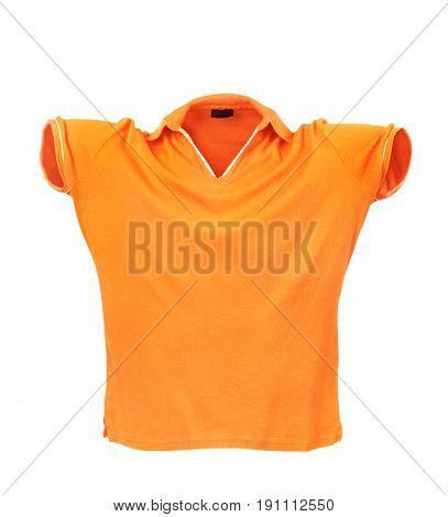 Hollow orange T-shirt on a white background