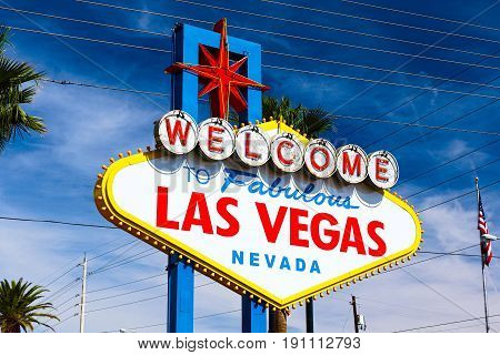 The Welcome to Fabulous Las Vegas sign on bright sunny day in Las Vegas, Nevada USA,07 Oct 2016 poster