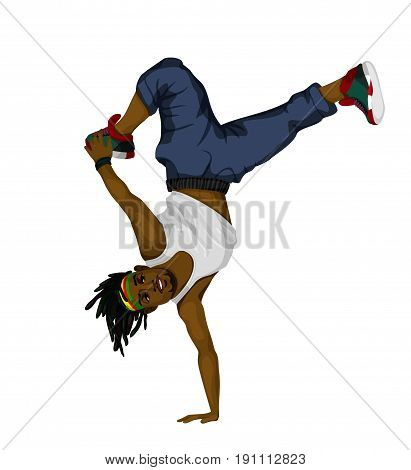 Vector illustration of a young man dancing