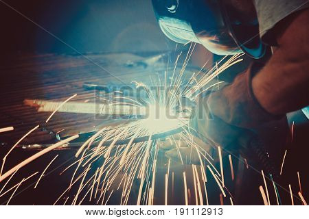 Welding Work. Erecting Technical Steel Industrial Steel Welder In Factory. Craftsman. Soft Focus. Sh