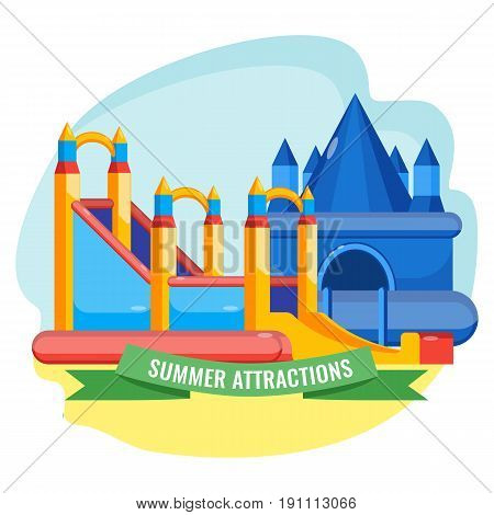 Summer park inflated attractions collection in shape of castle colorful vector poster. Bouncy equipments for children's amusement.