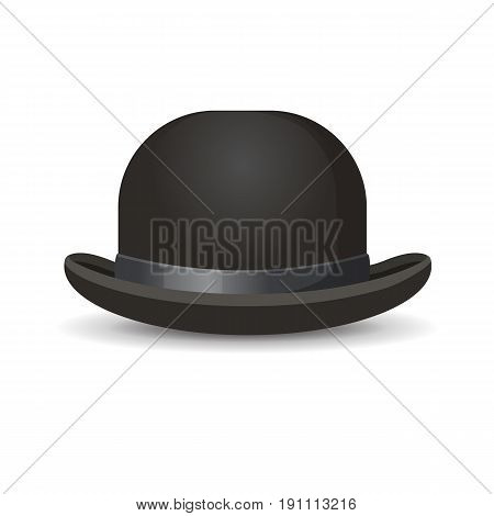 Bowler hat in black color isolated on white. Vector illustration of one decorative element for men wearing on head with formal suits.