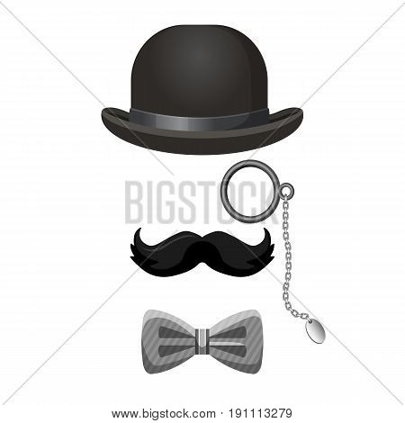Vintage gentleman collection in black and grey colors isolated on white. Bowler hat, dark moustache, eye-glasses and bow tie vector poster