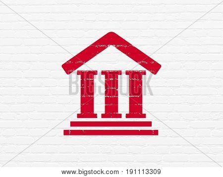Law concept: Painted red Courthouse icon on White Brick wall background