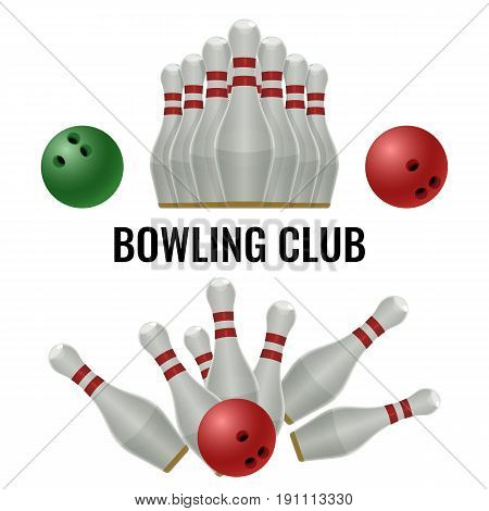 Bowling club logo design of equipment for play. Vector illustration of pins and ball during strike, skittles in raw isolated on white