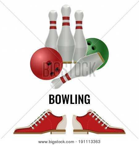 Bowling club logo design of equipment for play and pair of footwear sneakers. Vector illustration of pins and balls, skittles isolated on white