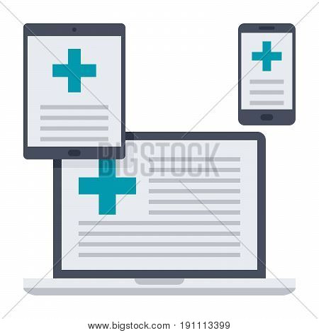 eHealth concept with devices and medical online services, vector illustration in flat style