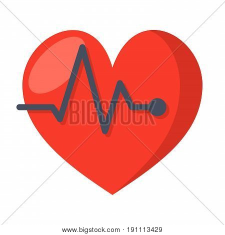 ECG concept with electrocardiography and heart, vector icon in flat style