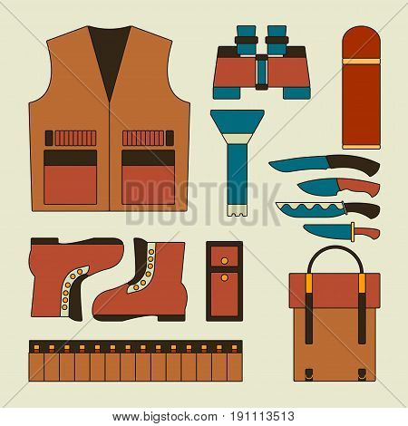 Hunting icon set Vector illustration Still life with hunting equipment with different icons in thin line Modern hunting gear for wild animals