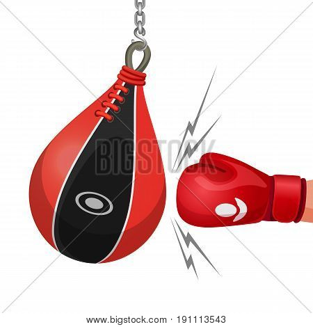 Boxing glove hits punching bag vector illustration isolated on white. Hand knocks punchbag hanging on chain