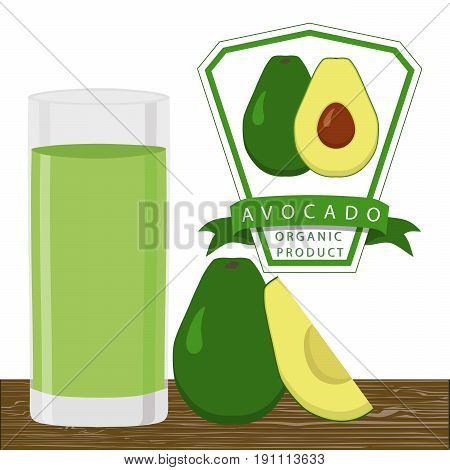 Abstract vector illustration logo whole ripe vegetables avocado green stem leaf cut sliced,glass background.Avocado drawing consisting of tag label peel fruits pip ripe sweet food.Drink fresh avocados