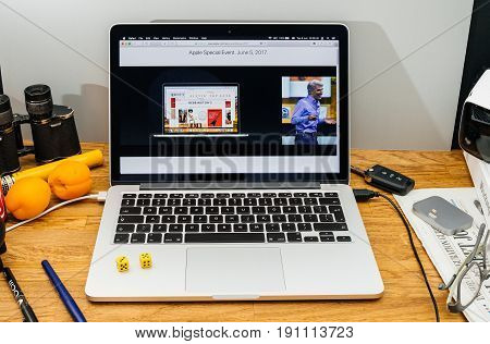 PARIS FRANCE - JUNE 6 2017: Apple Computers website on MacBook laptop in creative environment showcasing Apple Craig Federighi previews macOS High Sierra at WWDC 2017 - new browser improvments