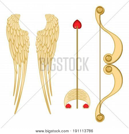 Angel wings, retro cupid bow and arrow with heart realistic vector illustration of accessories for valentines day isolated on white