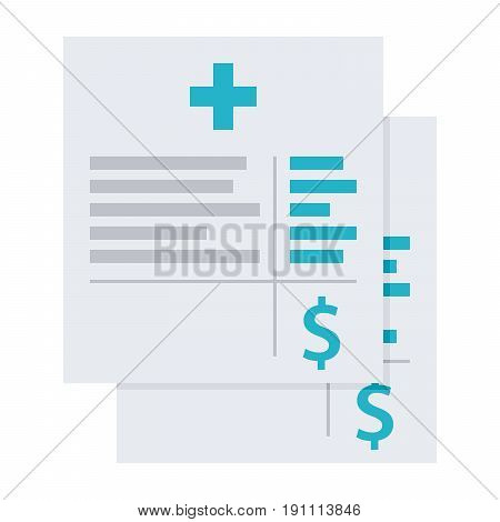 Medical invoice or hospital bills, vector illustration in flat style poster