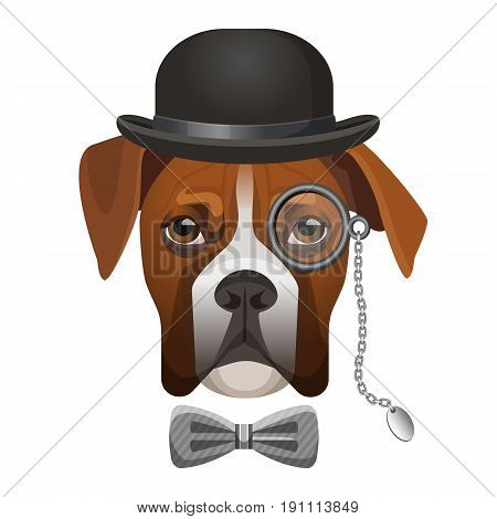 Boxer dog in bowler hat, bow and magnifier glass on eye portrait vector illustration isolated on white. Cartoon character dog-sniffer sleuthhound